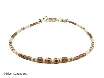 Slim Copper & Very Light Peach Seed Bead Layering Friendship Fashion Bracelet