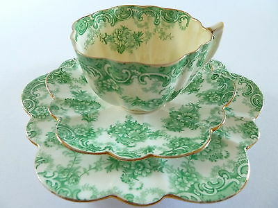 Antique Paragon China Fluted Trio--Cup Saucer Plate--1900 .c