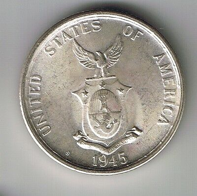 1945 S Philippines American 50 Centavos Silver Coin World War II Relic UNC MS !