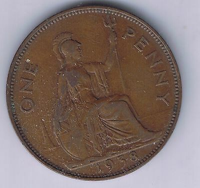 1929 Great Britain 1 Penny Coin UK Pence United Kingdom British English one cent