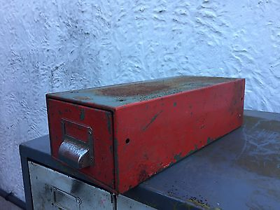 Vintage Metal Filing Cabinet Index Holder Drawer, Industrial Salvage, Vintage