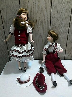 1990 Danbury Mint Jack and Jill porcelain dolls pair collectible set