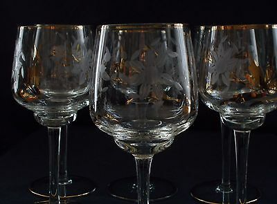 Set of 6 Crystal Etched w/Gold Rim Long Stem Footed Wine Glasses Ex Cond