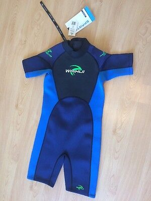 NEW Waihui Crane Children's Shorty Wetsuit Age 11-12 Yrs Blue Perfect With Tags