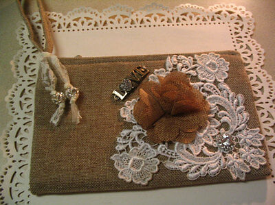 Embellished Tan Decorated Wristlet Evening Accessory Bag #10