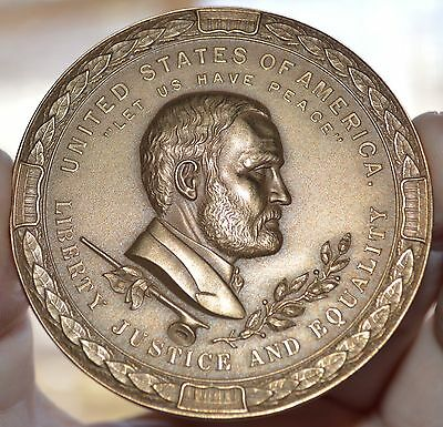 "Scarce 1871 General Us Grant Peace Bronze Medal 2 1/2""  Sold Out Mint"