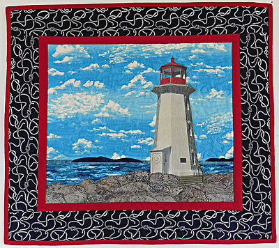 Art Quilt forSale, Quilted Wall Hanging, Lighthouse, Handmade, HMJQuiltsPlus