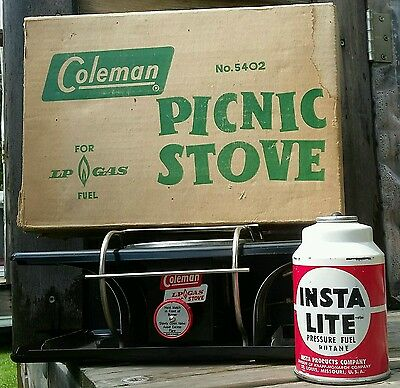 Very Nice Coleman Lp Gas Picnic Stove Rare Black Made In Canada With Box