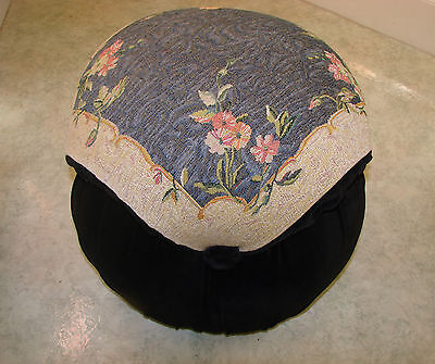 Lovely Velvet Ottoman Vintage Antique Mushroom Stool Tapestry Floral Rose Bench