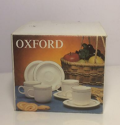 Oxford 4x Cup & Saucer Set Off-White With Gold Band BNIB 3308/LOK.806 Retro