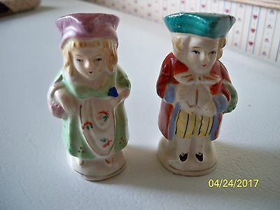 Colonial Style Man and Woman Couple Standing Salt and Pepper Shakers-People