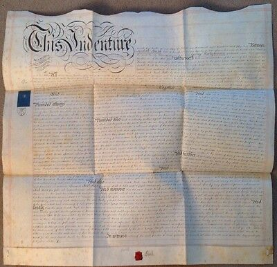 1852 English Indenture Handwritten on Vellum Deed Indenture