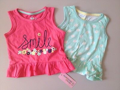 Cute Floral Girls Vests / Tops, 9-12 Months BNWT