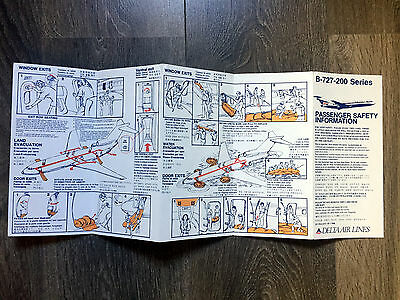 DELTA AIR LINES 727-200 safety card