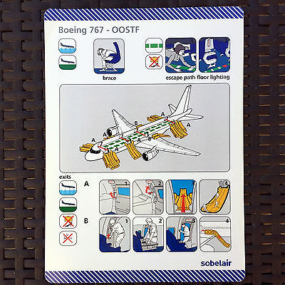 SOBELAIR 767 OO-STF safety card