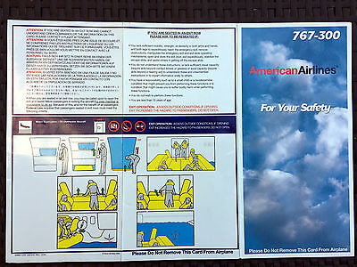 AMERICAN AIRLINES 767-300 safety card (10/94)