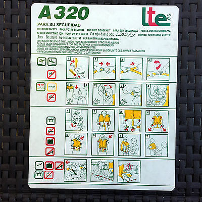 LTE Airlines Spain A320 safety card