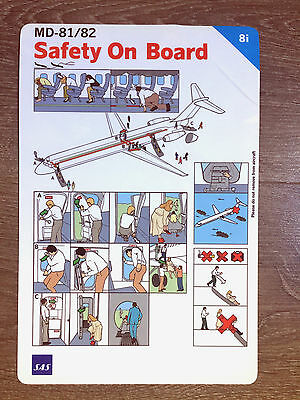 SAS SCANDINAVIAN AIRLINES MD-80 safety card