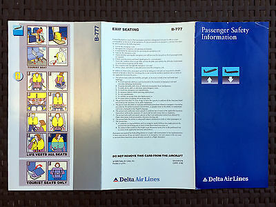 DELTA AIR LINES 777 safety card (5/99)