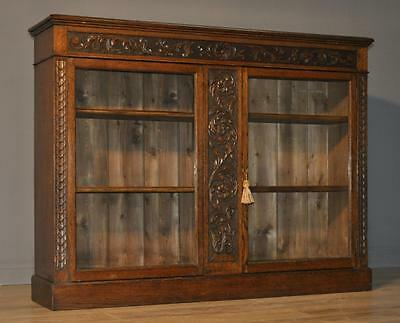 Attractive Antique Victorian Carved Oak Floor Bookcase Cabinet With Glazed Doors