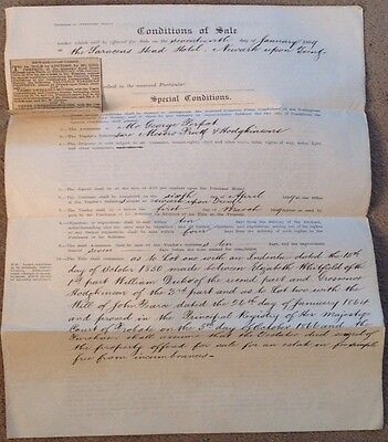 1889 Public Auction Condition of Sale with original Victorian newspaper cutting