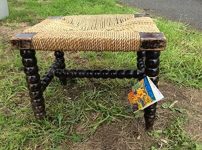 Antique / Vintage Stool. Bobbin Turned Legs. Traditional Sea Grass Country Seat.