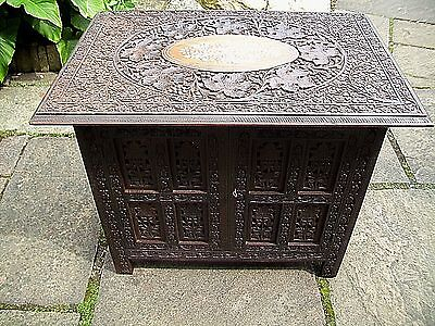 Large  Antique  Folding  Anglo/ Indian  Inlaid Cabinet Side Table