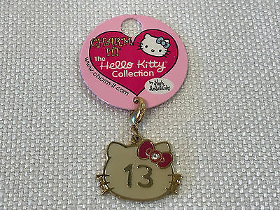 "Rare Hello Kitty Face Gold ""13"" Charm Bracelet Jewelry, 2007, NEW WITH TAG"