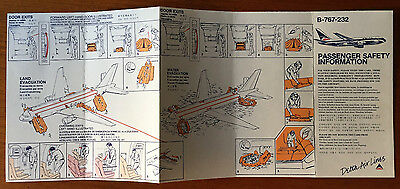 Delta Air Lines 767-200 safety card