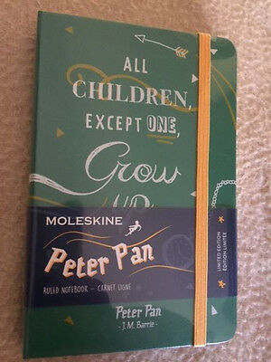 NEW Moleskine Limited Edition Peter Pan, Notebook, Pocket, Ruled GREEN Sealed