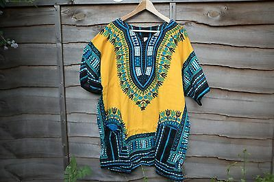 African shirt XL yellow Summer Festival Retro Vintage