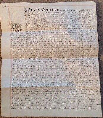 1856 Indenture Handwritten Rare embossed revenue stamp, Nottingham cancel stamp