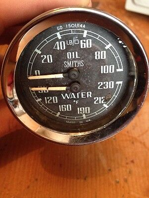 Smiths Dual Twin Oil Pressure Temp Gauge Gd1501/14A Mg Mgb Sprite Lotus Ford