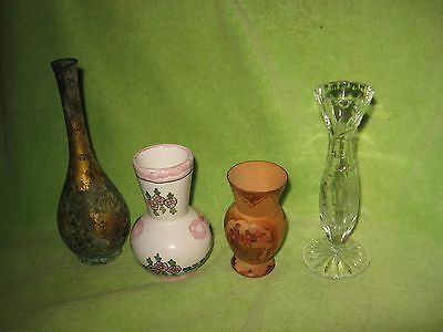 Mixed Lot of 4 Vases Glass, Wood, Porcelain & Brass Antique Signed