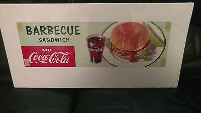 Vintage 1957 Coke Coca Cola Barbeque Sandwich Cardboard Sign Diner Menu