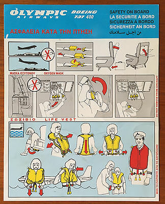 Olympic Airways 737-400 safety card