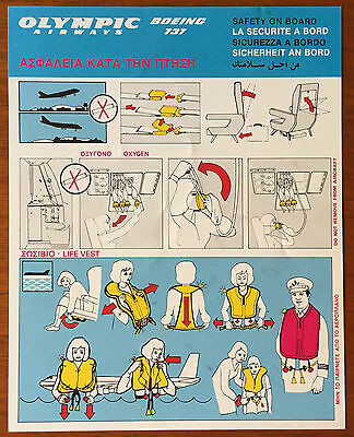 Olympic Airways 737-200 safety card