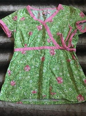 Koi Kathy Peterson Small Green Pink Clovers Floral Scrub Top V Neck
