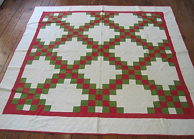 Antique Handmade Quilt Vintage Quilted Bedspread Irish Chain Red Green White 84""