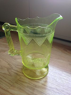 "Antique 1891 Us Glass Co Doyles Comet Eapg Vaseline Glass Water Pitcher 9"" Xlnt"