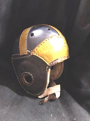 Authentic American 1940's Leather Football Helmet Black, Yellow or Gold, Nice