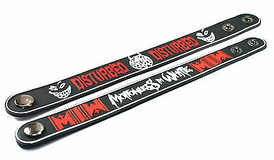 2X Disturbed & MOTIONLESS IN WHITE Rubber Wristband Bracelet Free Shipping
