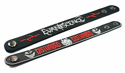 2X EVANESCENCE & Disturbed Rubber Wristband Bracelet Free Shipping