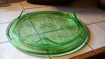 Vintage Green Depression Glass 3 Footed Cake Plate/stand Jeanette Sunflower