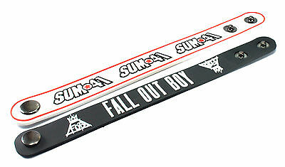 2X SUM 41 & FALL OUT BOY Rubber Wristband Bracelet Free Shipping