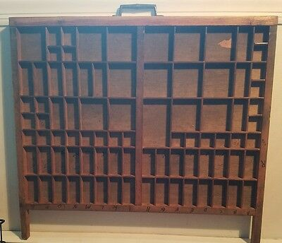 """Vintage Printers Drawer Letterpess Wood Tray 21-3/4"""" x 19-1/2"""" approx."""