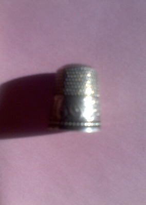 "VTG STERLING SILVER THIMBLE Scroll, Flower Design w/ ""Eva"" 9"
