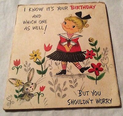 Vintage Hallmark Birthday Card Girl Winks