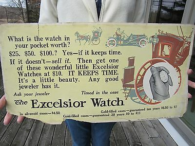 Original 1909 Excelsior Watch Paper Advertising Sign Trolley Card Ext. Rare