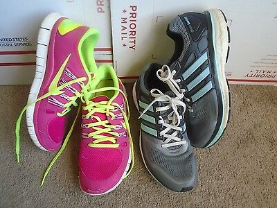 Women's Lot Nike Free,Adidas glide boost -2 pairs athletic running shoes sz 9.5